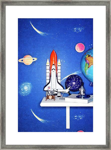 Space Travel Paraphernalia On Bedroom Framed Print by Martin Poole