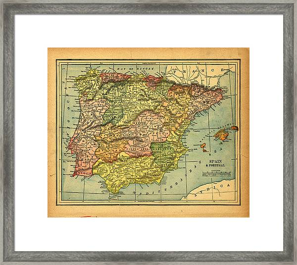 Spain & Portugal Vintage Map Framed Print