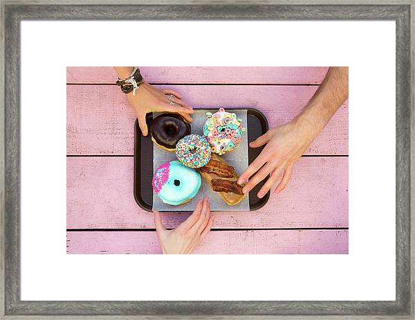 Specialty Doughnuts On A Tray Framed Print