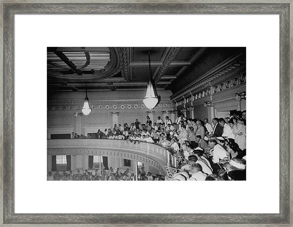 Spectators Packed Into Gallery Draped W Framed Print