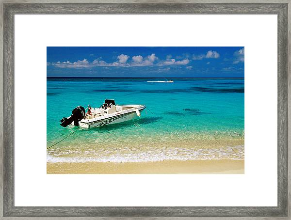 Speedboat Moored At Conroy Beach Framed Print