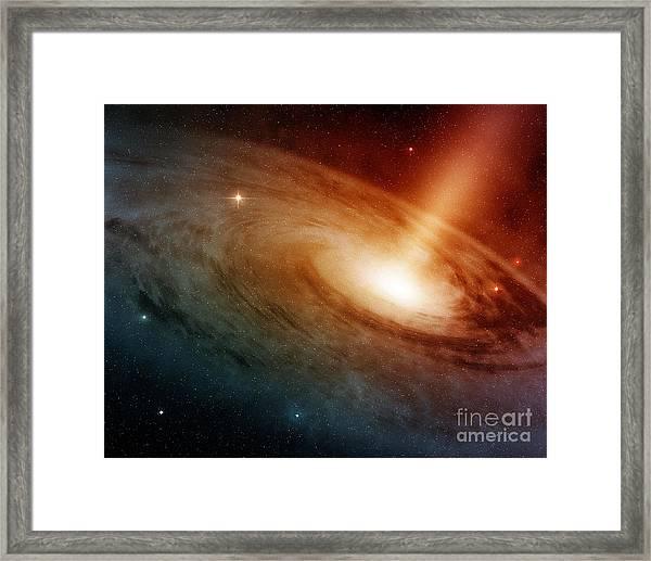 Spiral Galaxy System Glowing Into Deep Framed Print