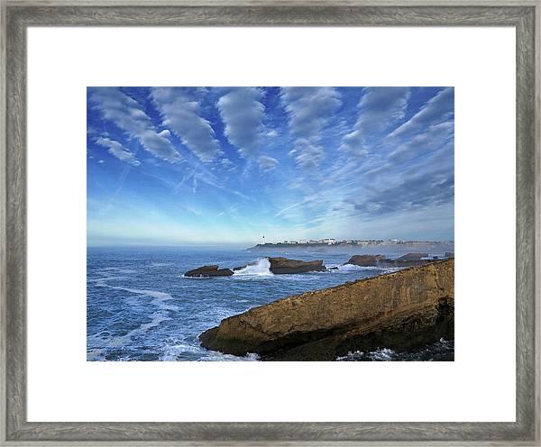 Splashing Waves On The Atlantic Beach Framed Print