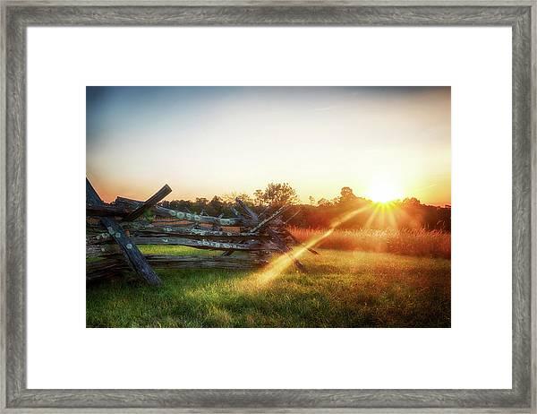 Split-rail Sunset Framed Print