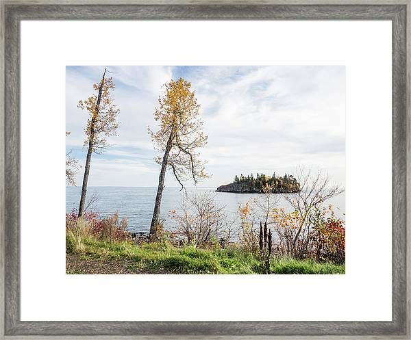 Split Rock In The Fall Framed Print