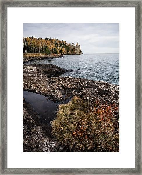 Split Rock Lighthouse Rocky Shore Framed Print