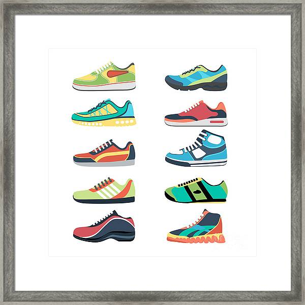 Sports Shoes Vector Set. Fashion Framed Print