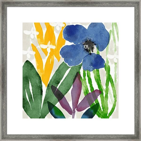 Spring Garden Blue- Floral Art By Linda Woods Framed Print