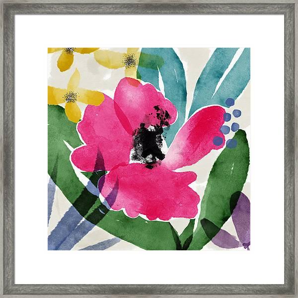 Spring Garden Pink- Floral Art By Linda Woods Framed Print