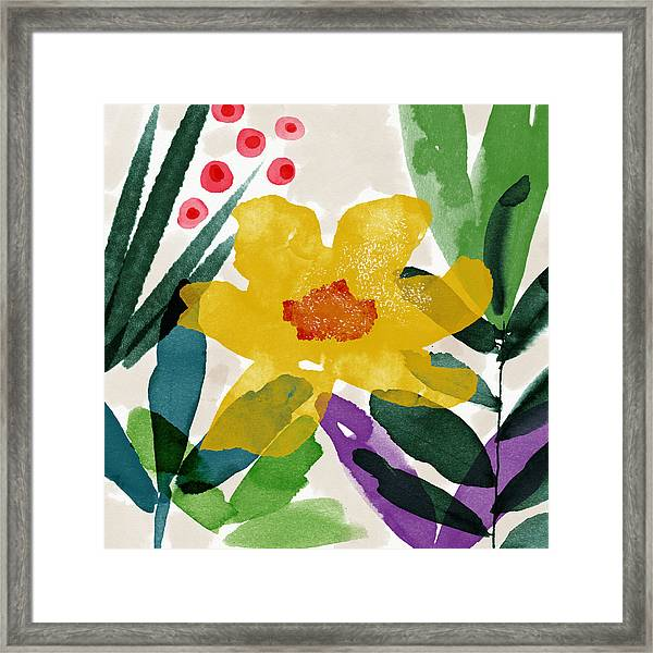 Spring Garden Yellow- Floral Art By Linda Woods Framed Print