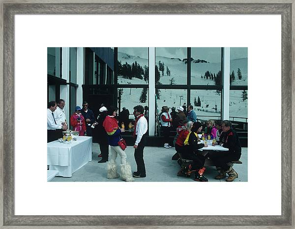 Squaw Valley Cable Car Deck Framed Print by Slim Aarons