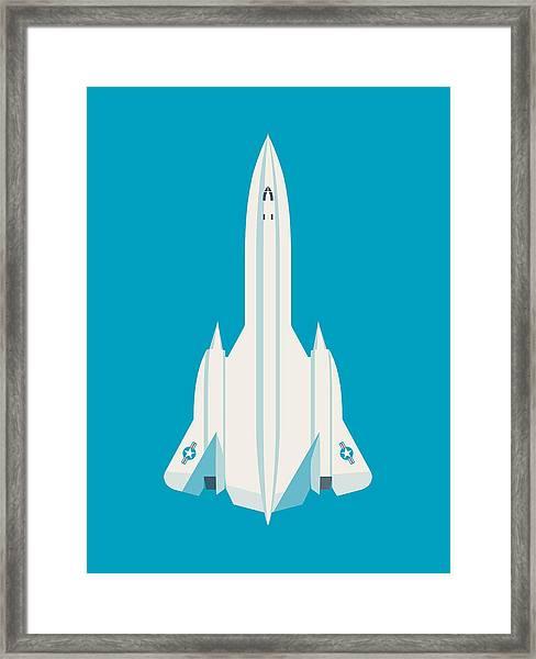 Sr-71 Blackbird Jet Aircraft - Cyan Framed Print
