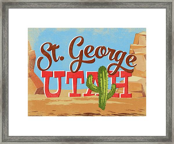 St George Utah Cartoon Desert Framed Print