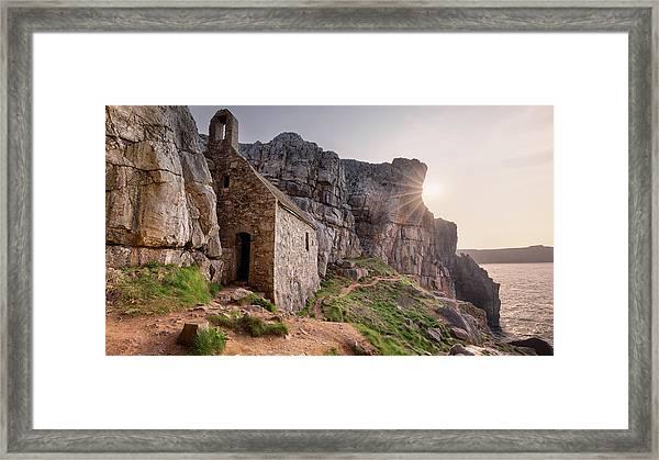 Framed Print featuring the photograph St. Govan's Chapel Sunrise by Elliott Coleman