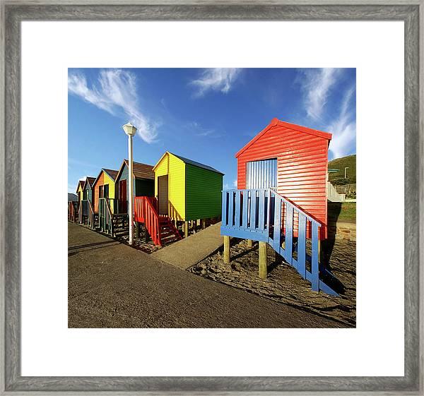St James Beach Huts Framed Print