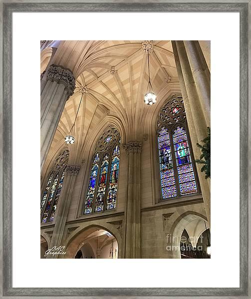St Patricks Stained Glass Framed Print