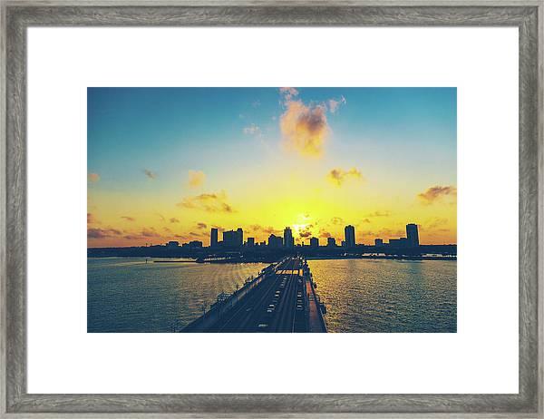 St Petersburgh Skyline At Sunset Framed Print