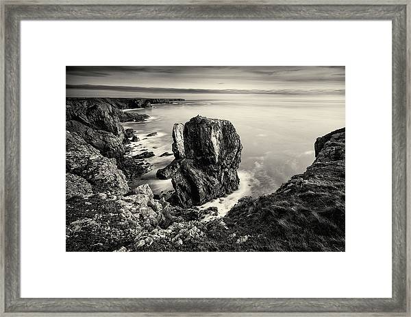 Framed Print featuring the photograph Stack Rocks - Black And White by Elliott Coleman