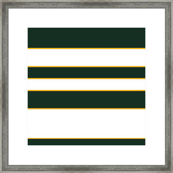 Stacked - Green, White And Yellow Framed Print