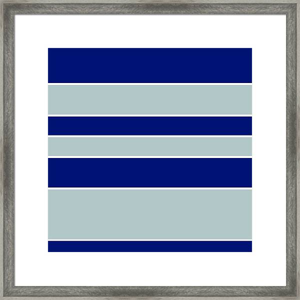 Stacked - Navy, Grey, And White Framed Print