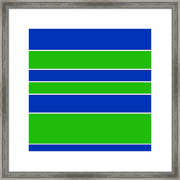 Stacked - Navy, White, And Lime Green Framed Print