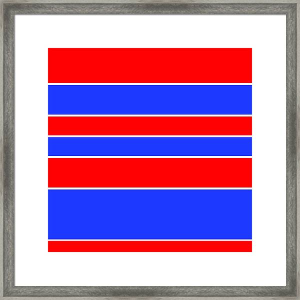 Stacked - Red, White And Blue Framed Print