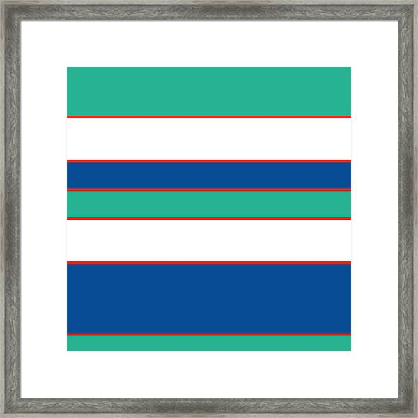 Stacked - Sea Foam, Orange, Navy And White Framed Print