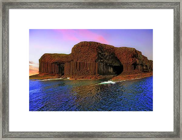 Staffa And Fingal's Cave - Scotland - Sunset Framed Print