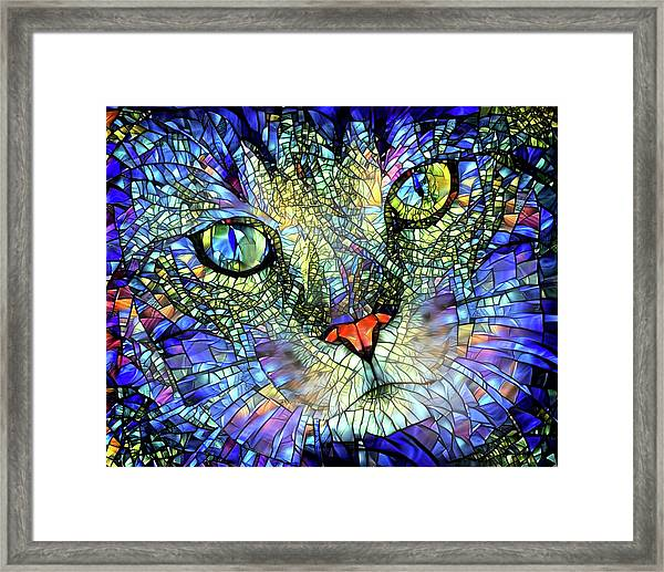 Stained Glass Cat Art Framed Print