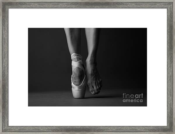 Standing On Tip Toe, Monochrome Framed Print