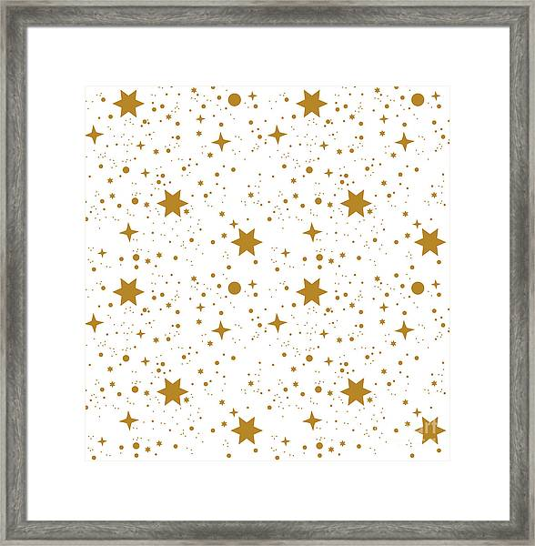 Star, Pattern, White, Background, Gold Framed Print