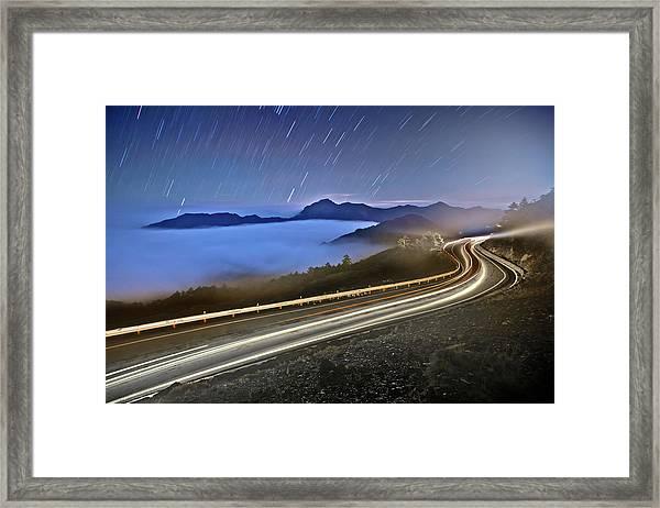 Star Rain On Road Framed Print