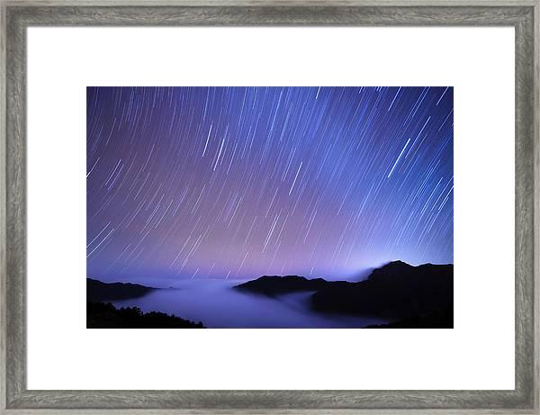 Star Trail And Cloud Sea At Mt. Hehuan Framed Print
