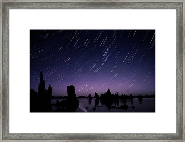 Star Trail Over Tufa In Mono Lake Framed Print