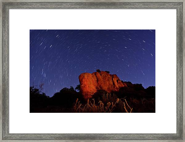 Star Trails And Light Painting On Framed Print