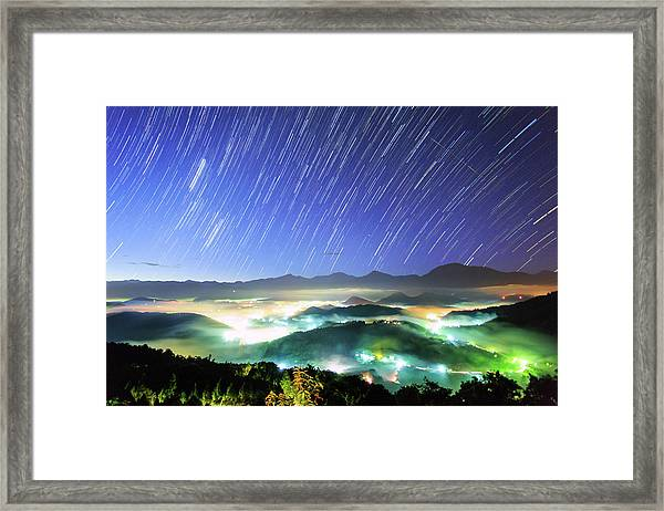 Star Trails And Misty Valley Before Sun Framed Print