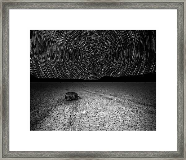 Framed Print featuring the photograph Star Trails Over Racetrack Playa Black And White by William Dickman