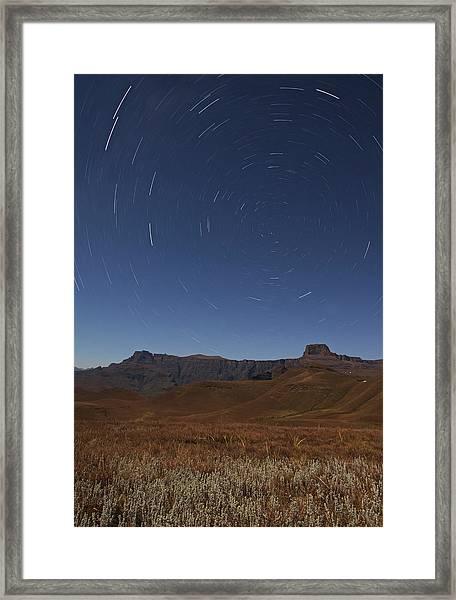Star Trails Over The Amphitheatre Range Framed Print