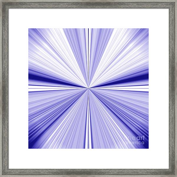 Starburst Light Beams In Blue And White Abstract Design - Plb455 Framed Print