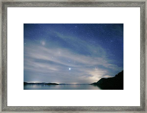 Starry Full Moon Sky Over Water And Framed Print