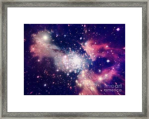 Stars Of A Planet And Galaxy In A Free Framed Print