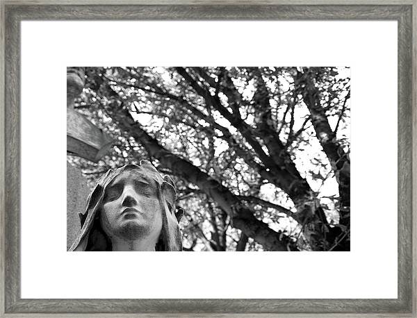 Statue, Contemplating Framed Print