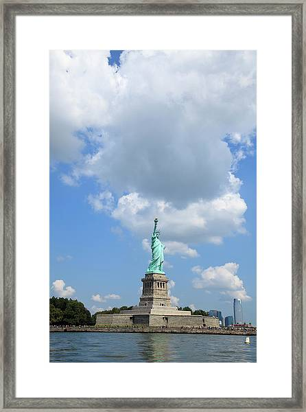 Statue Of Liberty In Upper New York Bay Framed Print