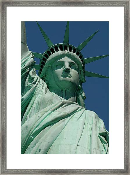 Statue Of Liberty, Nyc Framed Print by Manrico Mirabelli