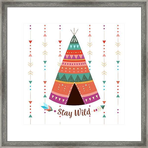 Stay Wild - Boho Chic Ethnic Nursery Art Poster Print Framed Print