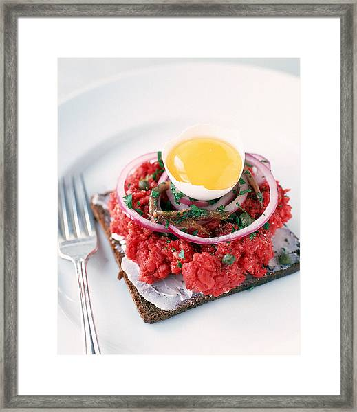 Steak Tartare With Egg , Onion , And Framed Print