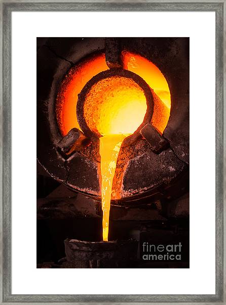 Steel Worker In Protective Clothing Framed Print