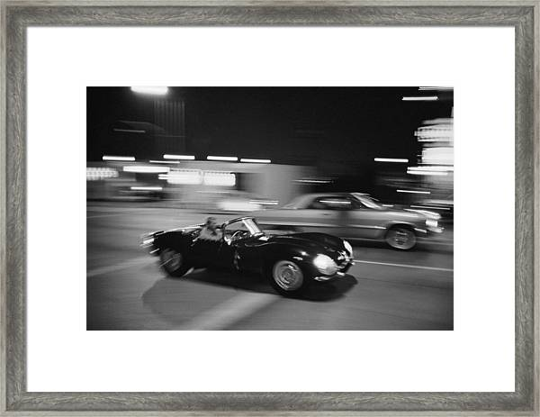 Steve Mcqueen Driving Sunset Strip Framed Print