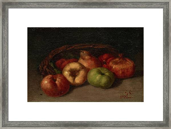 Still Life With Apples, Pear, And Pomegranates Framed Print