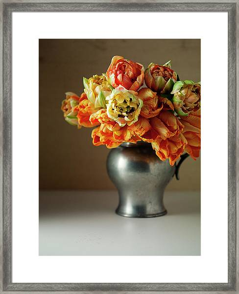 Still Life With Tulips In A Vase Framed Print
